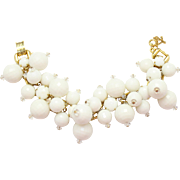 Vintage Juliana White Disco Ball Bead Milk Glass Rhinestone Bracelet