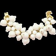 Vintage Juliana White Disco Ball Bead Milk Glass Rhinestone Bracelet