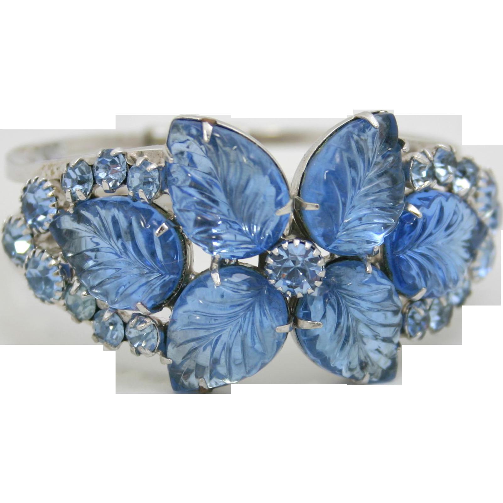 Vintage Juliana Book Piece Blue Carved Glass Leaf Rhinestone Clamper Bracelet