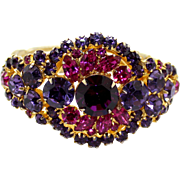 Vintage Juliana (D and E) Fuchsia Pink, Cardinal (purple) Rhinestone Clamper Bracelet
