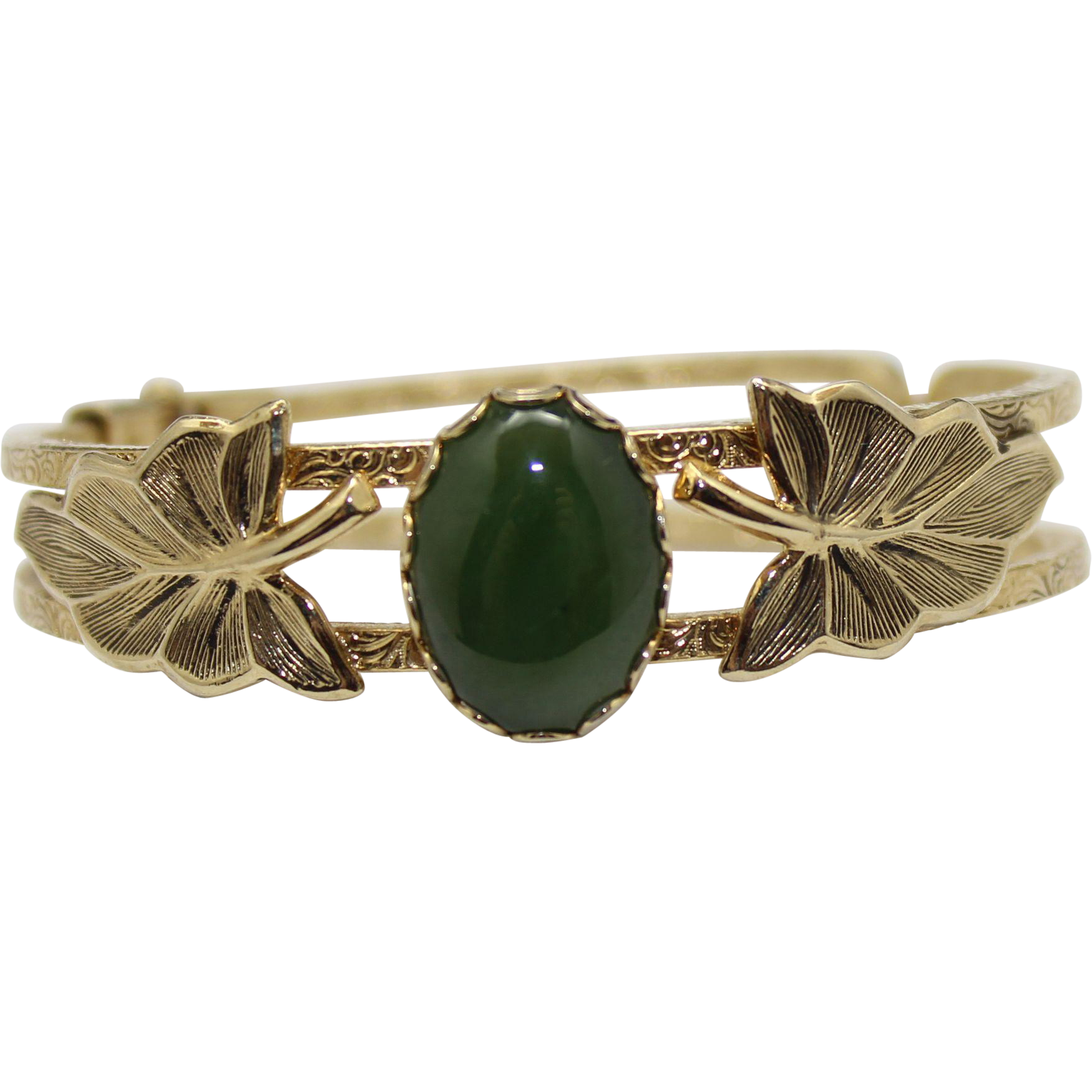 Vintage Jade Glass & Metal Leaf Clamper Bracelet