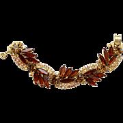 Vintage Juliana Book Piece Topaz Navette AB Rhinestone Sunburst Bracelet