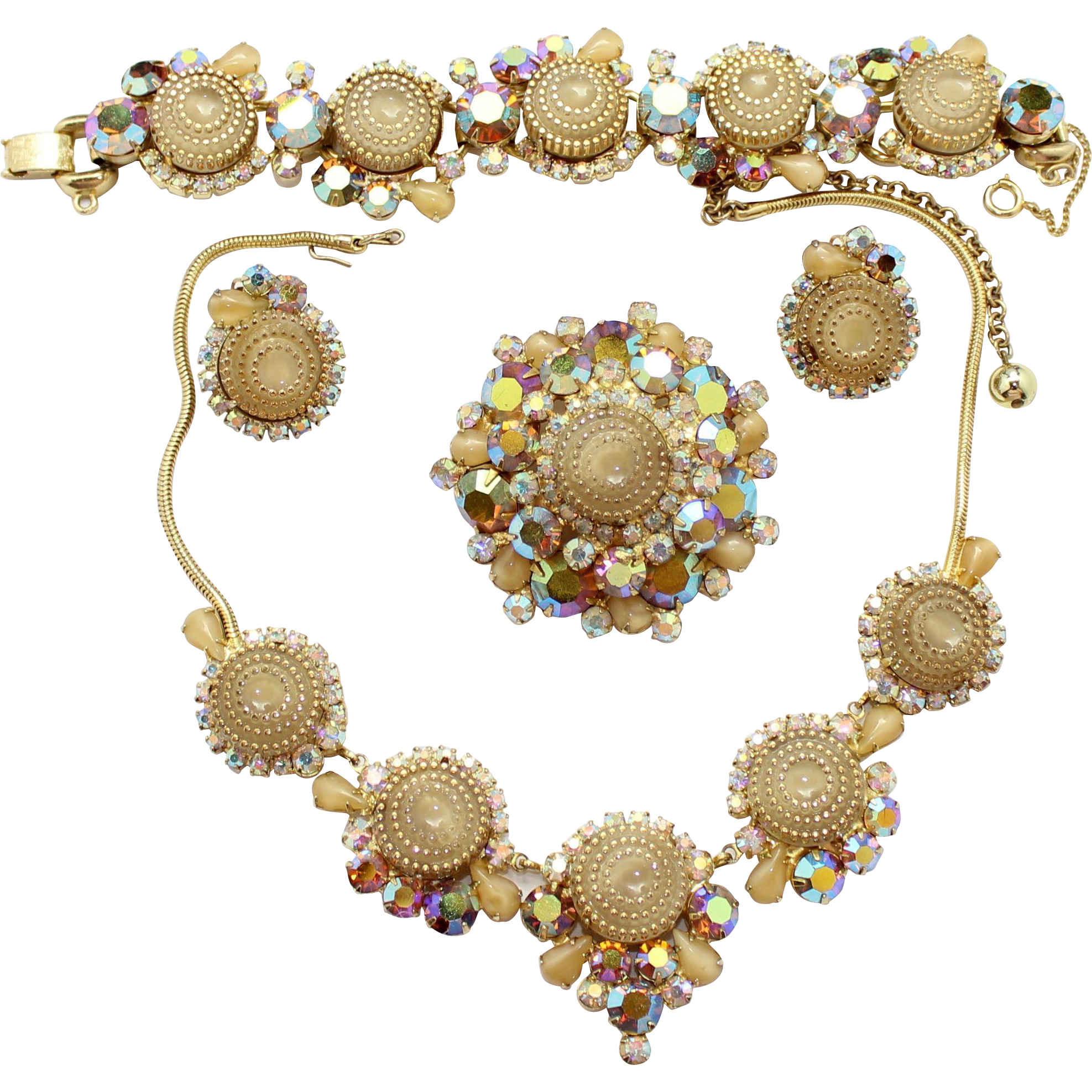 Vintage Juliana (D and E) Book Piece Beige and  Gold Rhinestone Birthday Cake Necklace, Bracelet, Brooch and Earrings Grand Parure