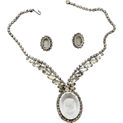 Vintage Juliana (D and E) Clear and AB Rhinestone Cameo Necklace and Earrings Demi Parure