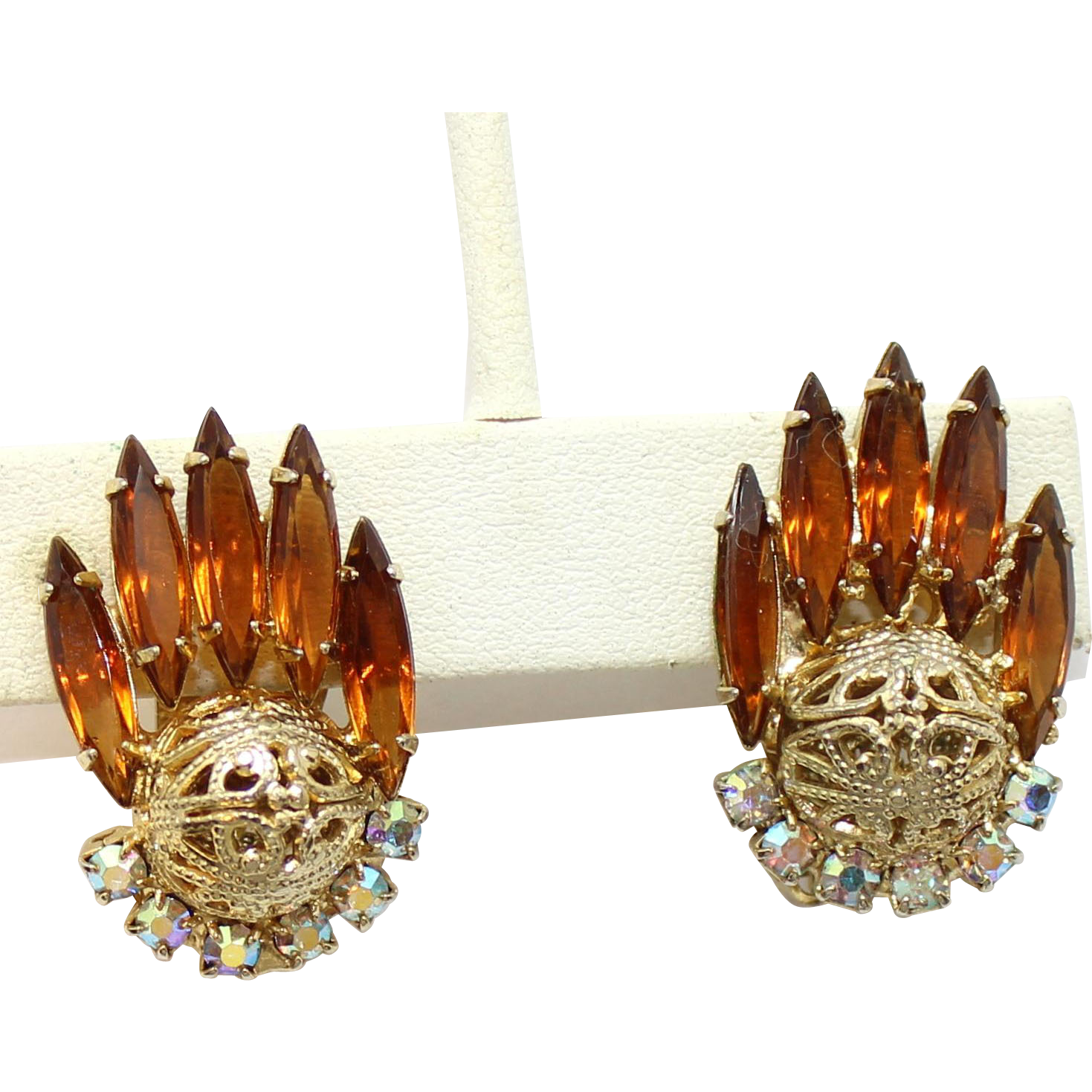 Vintage Juliana Book Piece Topaz Rhinestone Filigree Ball Earrings