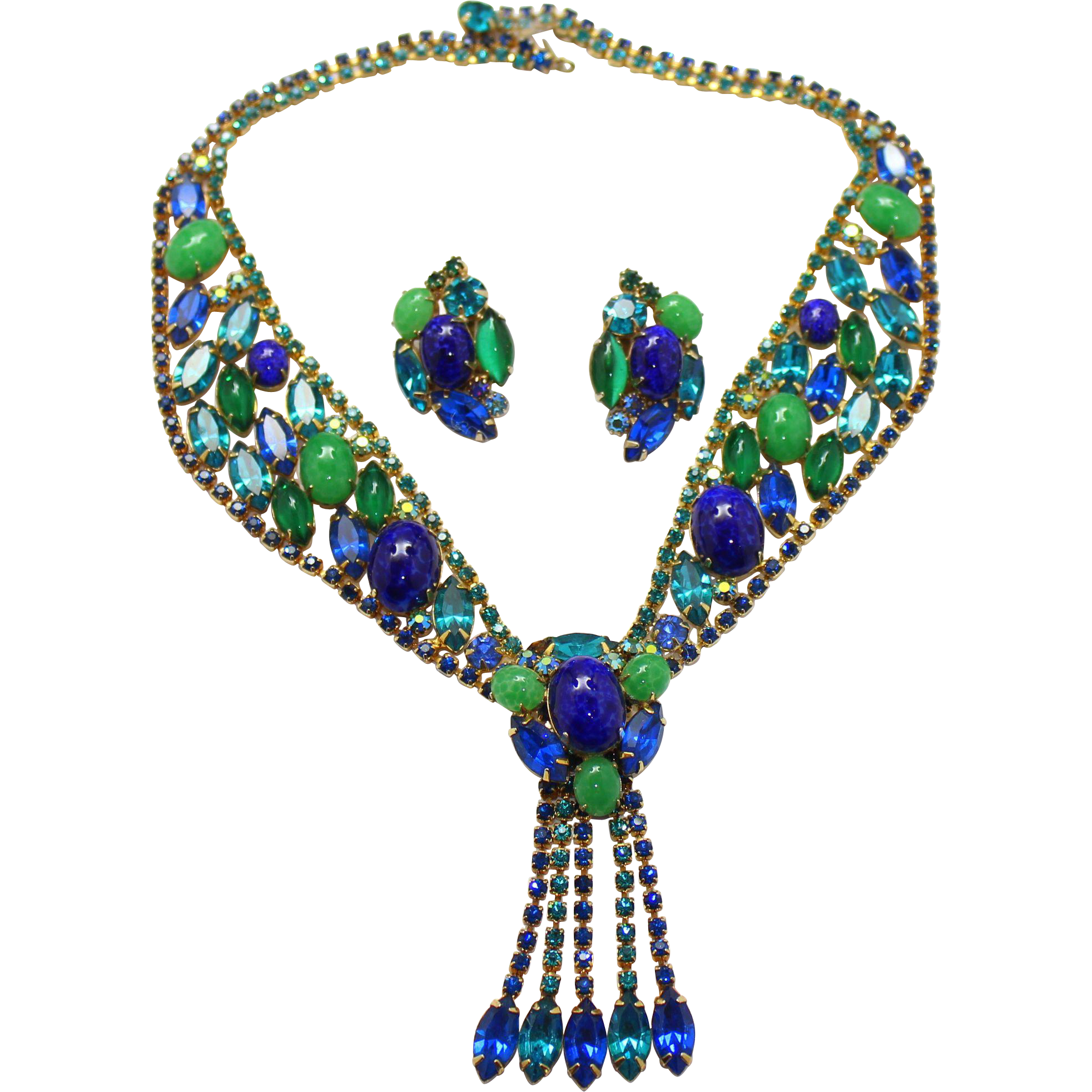 Vintage Juliana (D and E) Book Piece Faux Jade and Lapis Cabochon Rhinestone Necklace and Earrings Demi Parure