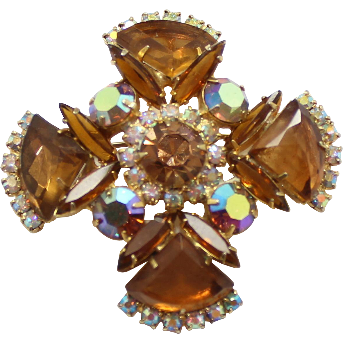 Vintage Juliana Topaz Pie Shaped Rhinestone Maltese Cross Brooch