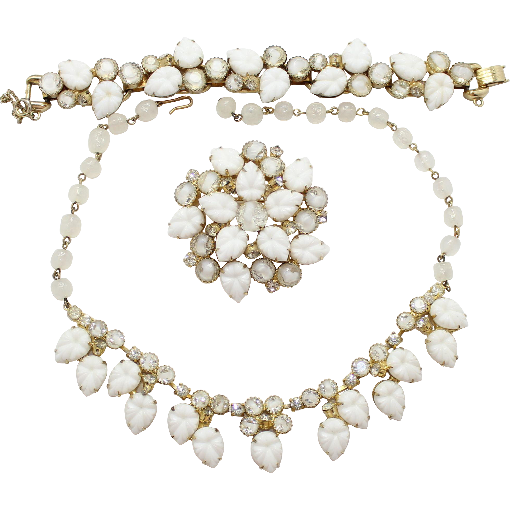 Vintage Juliana (D and E)  Book Piece White Givre Rhinestone and  Leaf Necklace, Bracelet and Brooch Parure