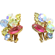 Vintage Juliana (D&E) Book Piece Pastel Rhinestone & Crystal Bead Earrings