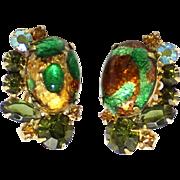 Vintage Juliana (D&E) Book Piece Emerald Gold Fluss Cabochon & Olivine Rhinestone Earrings