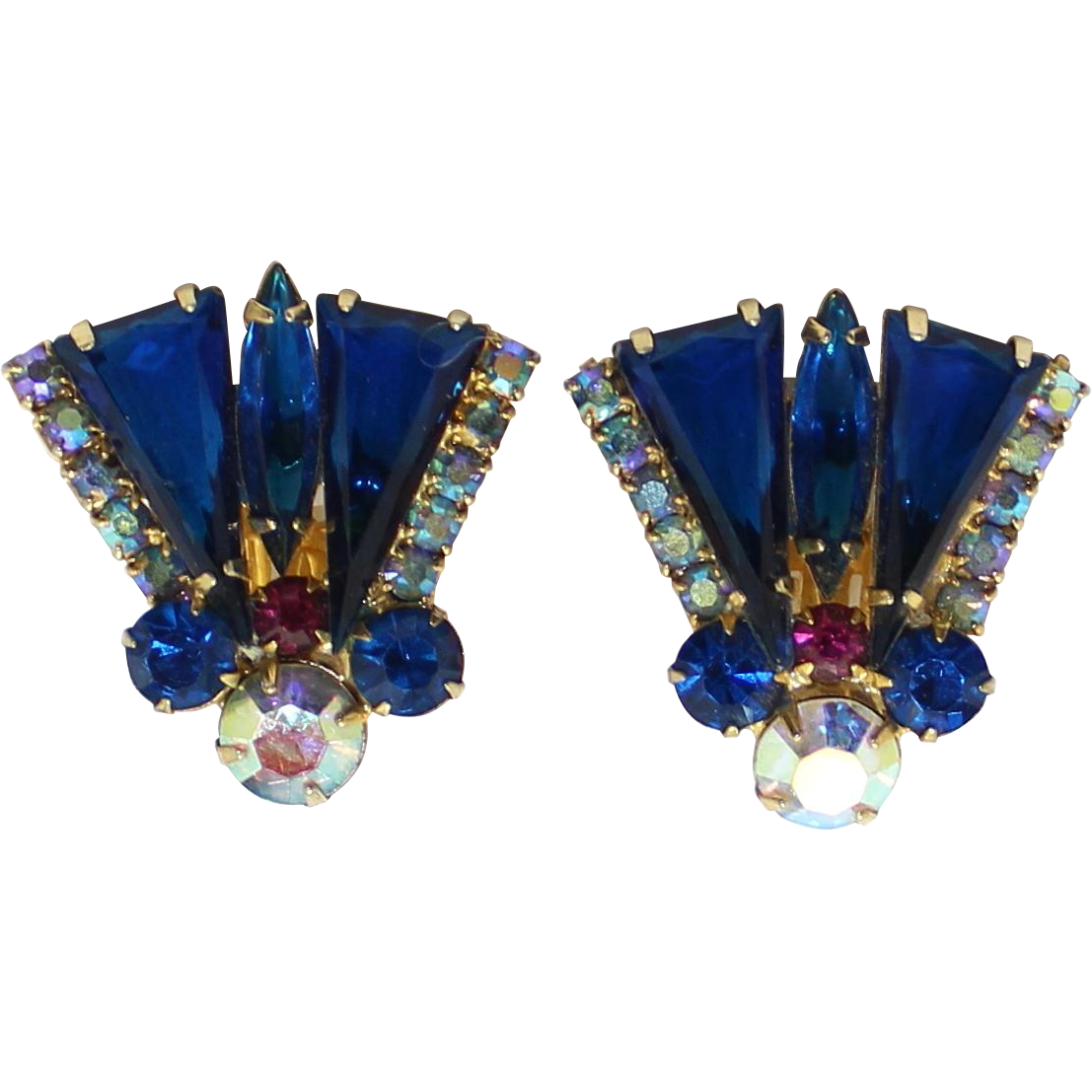 Vintage Juliana (D&E) Book Piece Blue Pennant Flag Rhinestone Earrings