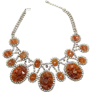 Vintage Juliana for KJL Book Piece Topaz Geode Clear Rhinestone Bib Necklace