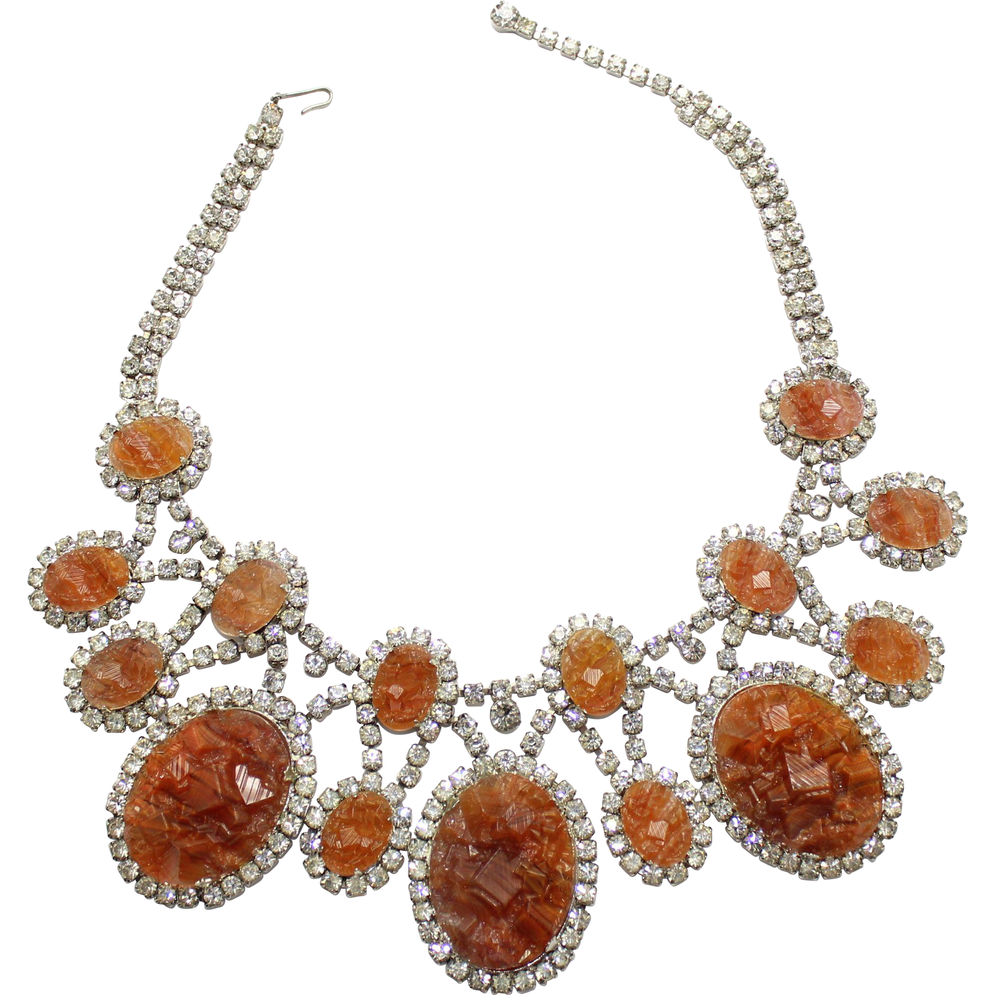 Vintage Juliana for KJL Book Piece Topaz Geode Clear Rhinestone Bib Necklace