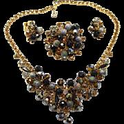 Vintage Juliana (D&E) Topaz, Black & Gray Rhinestone & Crystal Bead Parure