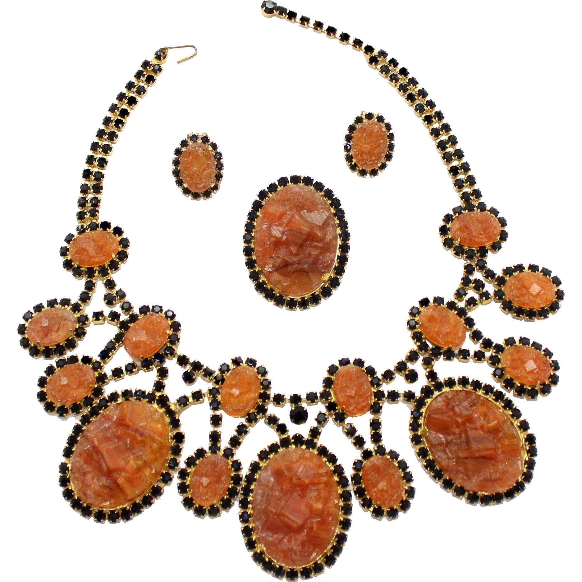 Vintage Juliana (D and E) Book Piece Topaz Geode and Black Rhinestone Bib Necklace, Pendant / Brooch and Earrings Parure