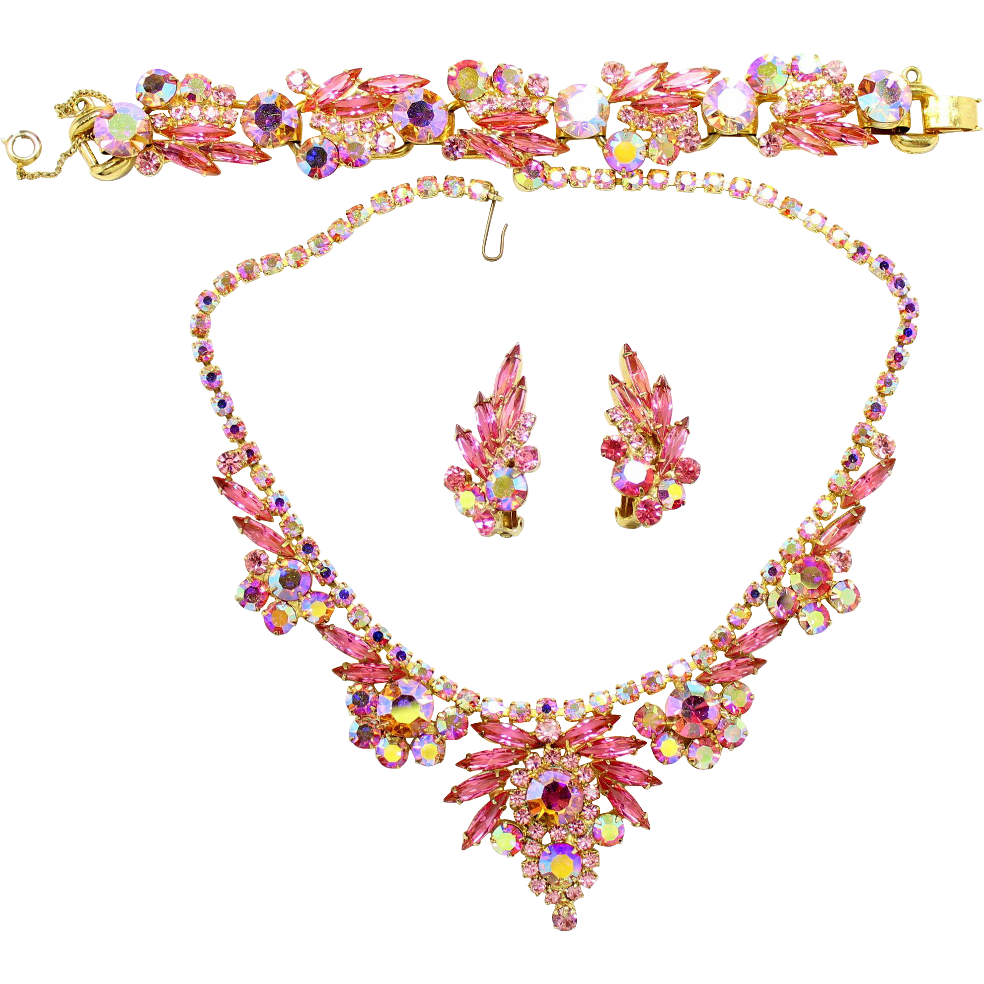 Vintage Juliana (D and E) Pink and AB Rhinestone Necklace, Bracelet and Earrings Parure
