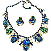 Vintage Juliana (D and E) Bermuda Blue Margarita, Rivoli Rhinestone and S Scroll Necklace and Earrings Demi Parure