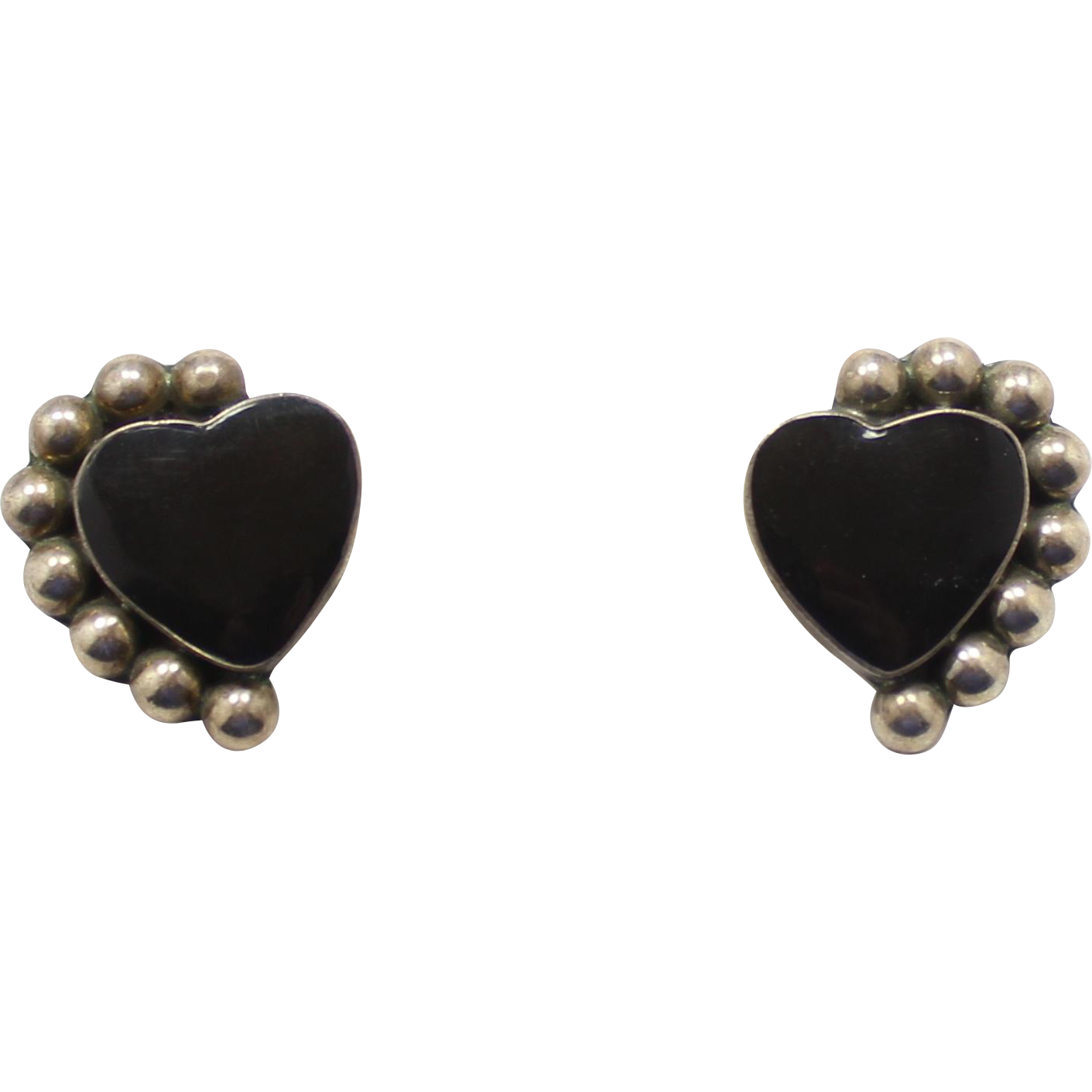 Sterling Silver Mexico TS-19 Onyx Heart Earrings