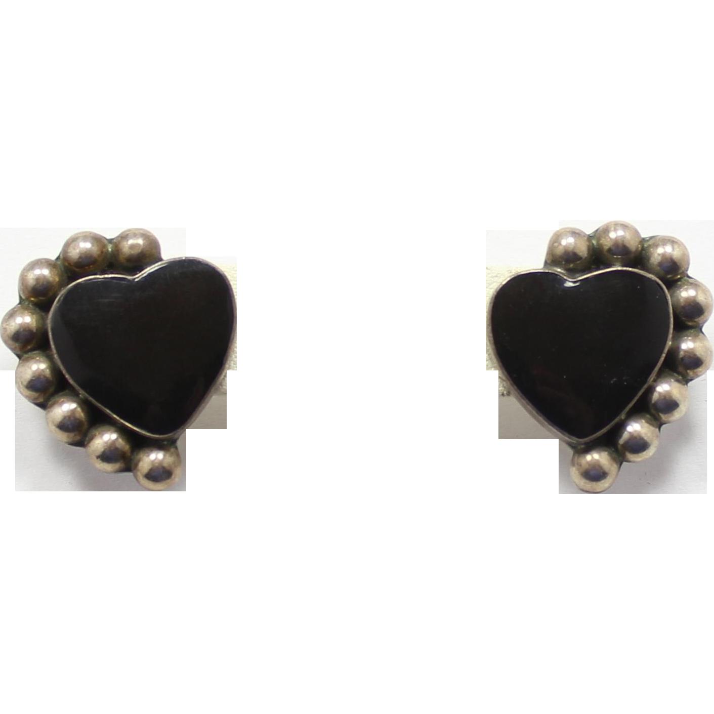 Sterling Silver Mexico TS-19 Onyx Heart Earrings