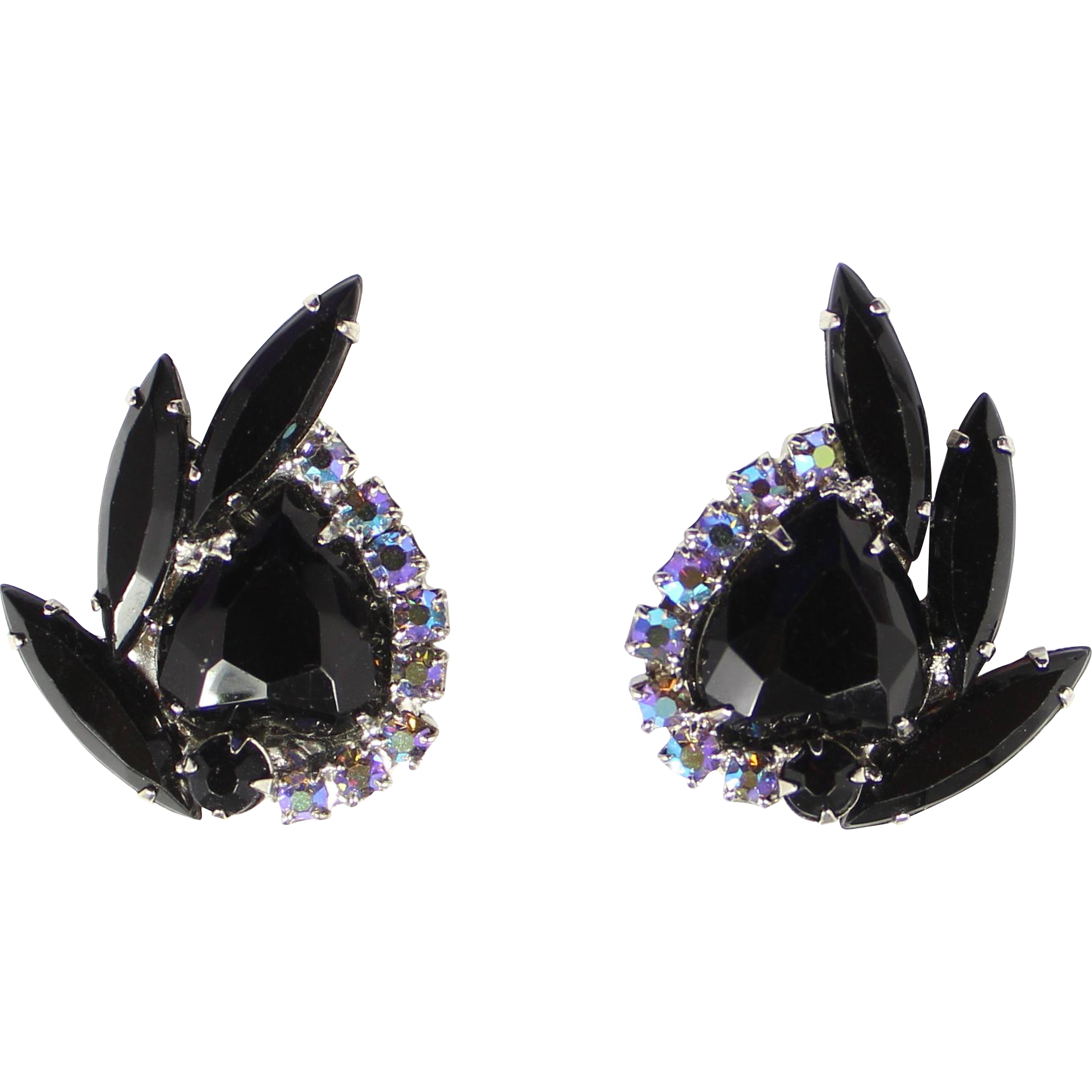 Vintage Juliana (D&E) Book Piece Black Rhinestone Heart Shaped Earrings