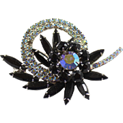 Vintage Juliana (D&E) Black & AB Rhinestone Circle Flower Brooch