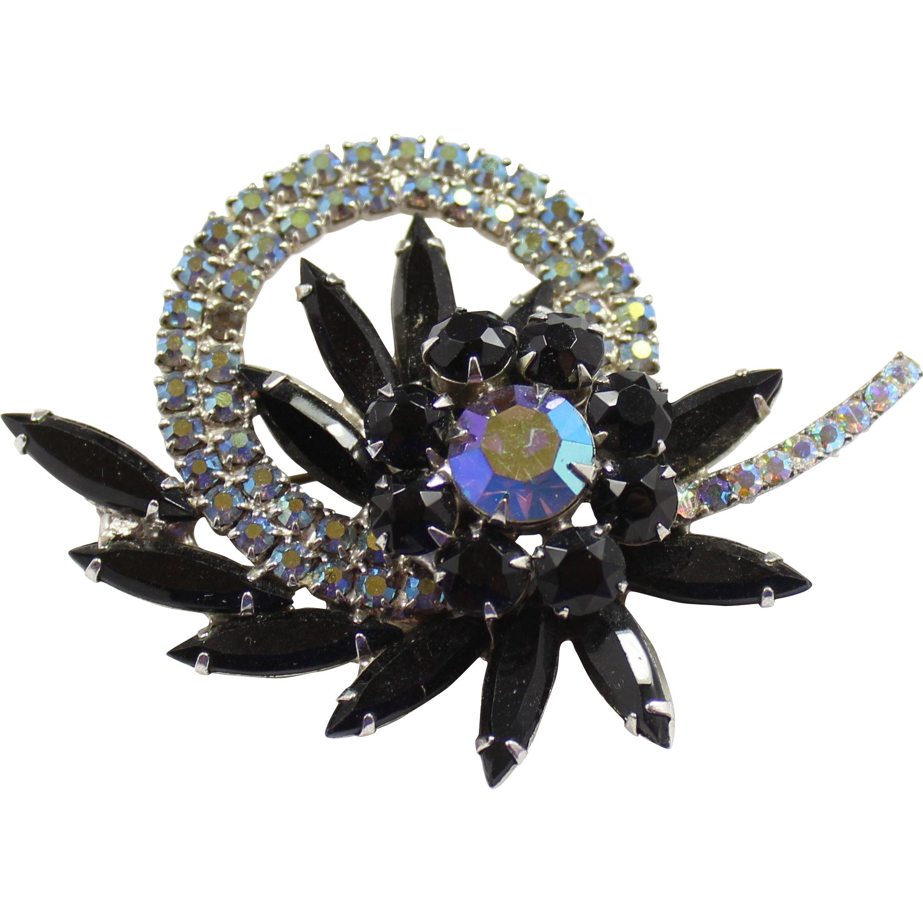 Vintage Juliana Black AB Rhinestone Circle Flower Brooch