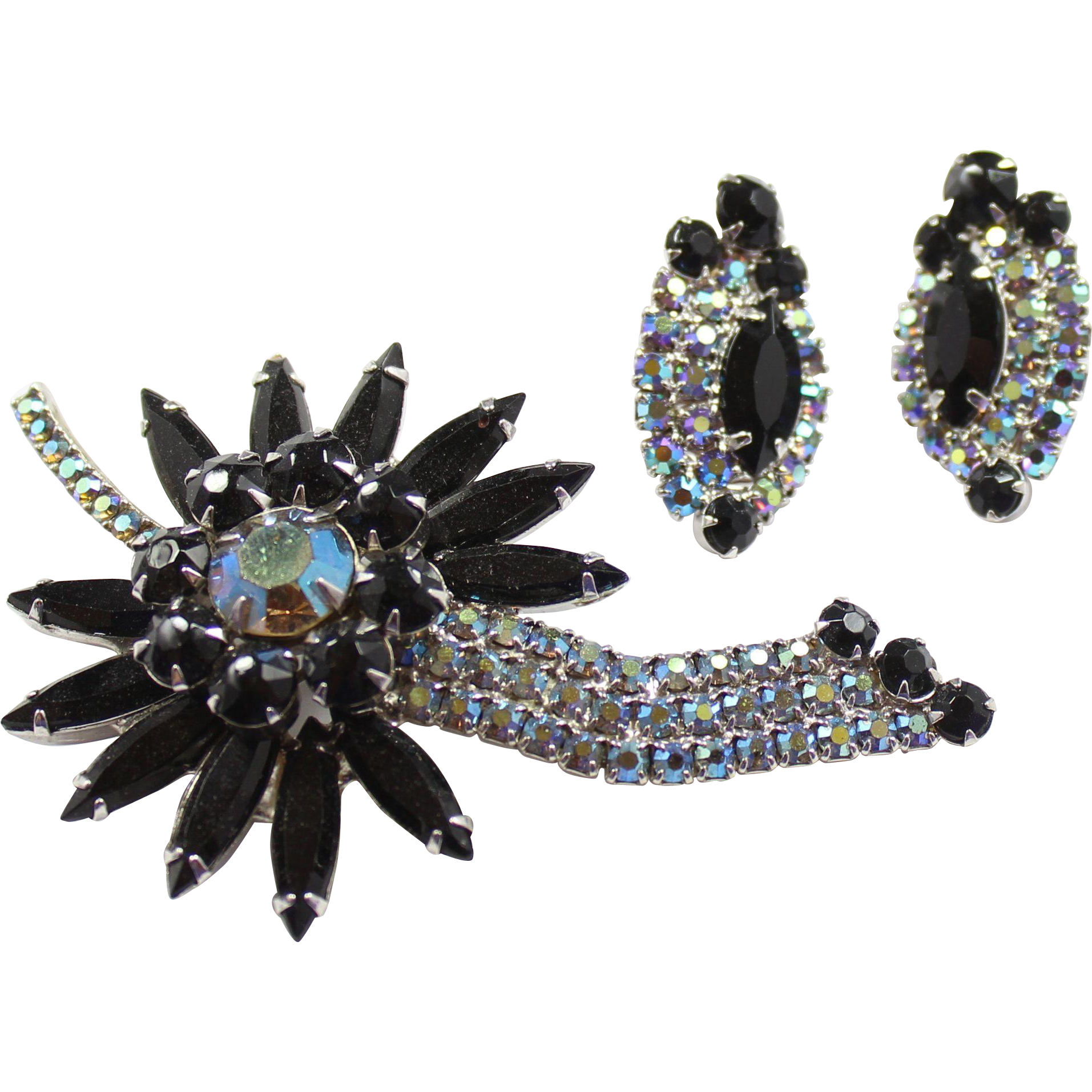 Vintage Juliana (D and E) Black and  AB Rhinestone Sunburst Flower Brooch and Earrings Demi Parure