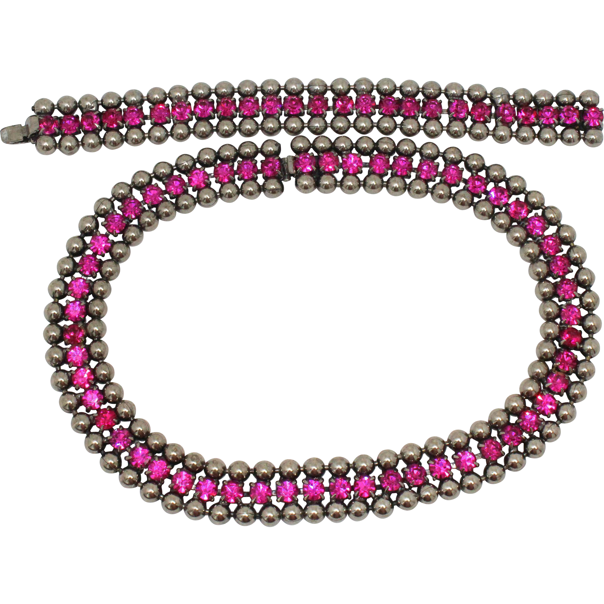 Vintage Juliana (D and E) Ball Chain and Fuchsia Pink Rhinestone Necklace and Bracelet Demi Parure
