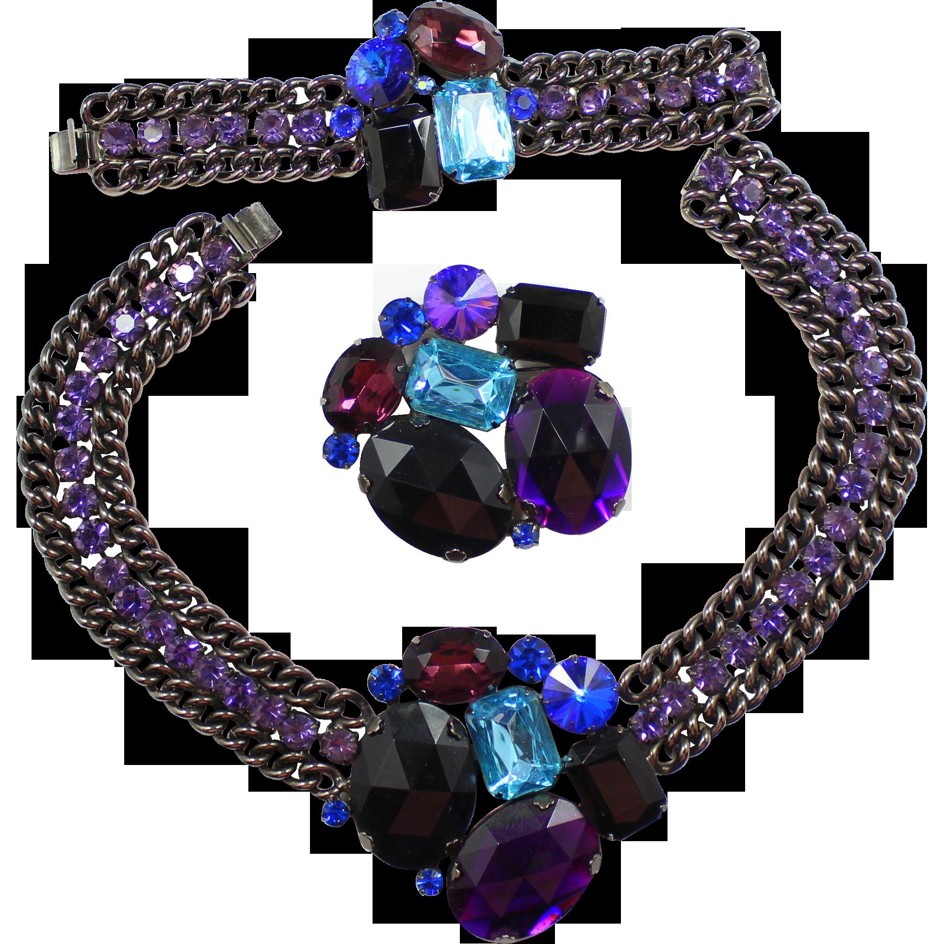 Vintage Juliana (D&E) for Alexis Kirk Book Piece Black, Aqua, Purple Rivoli Rhinestone Chain Parure