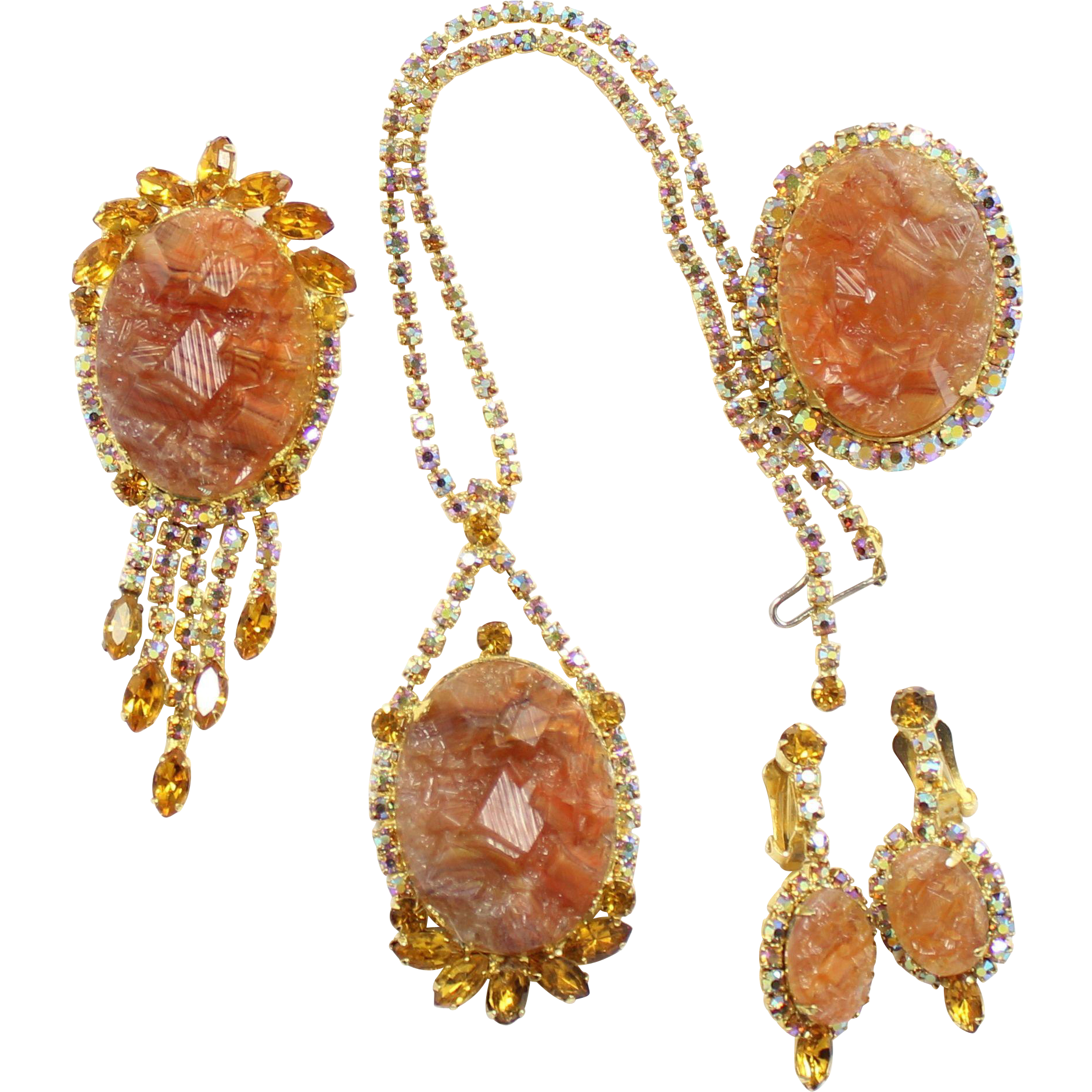 Vintage Juliana (D and E) Book Piece Topaz Geode and AB Rhinestone Necklace, Pendant / Brooch, Brooch, and Dangle Earrings Grand Parure