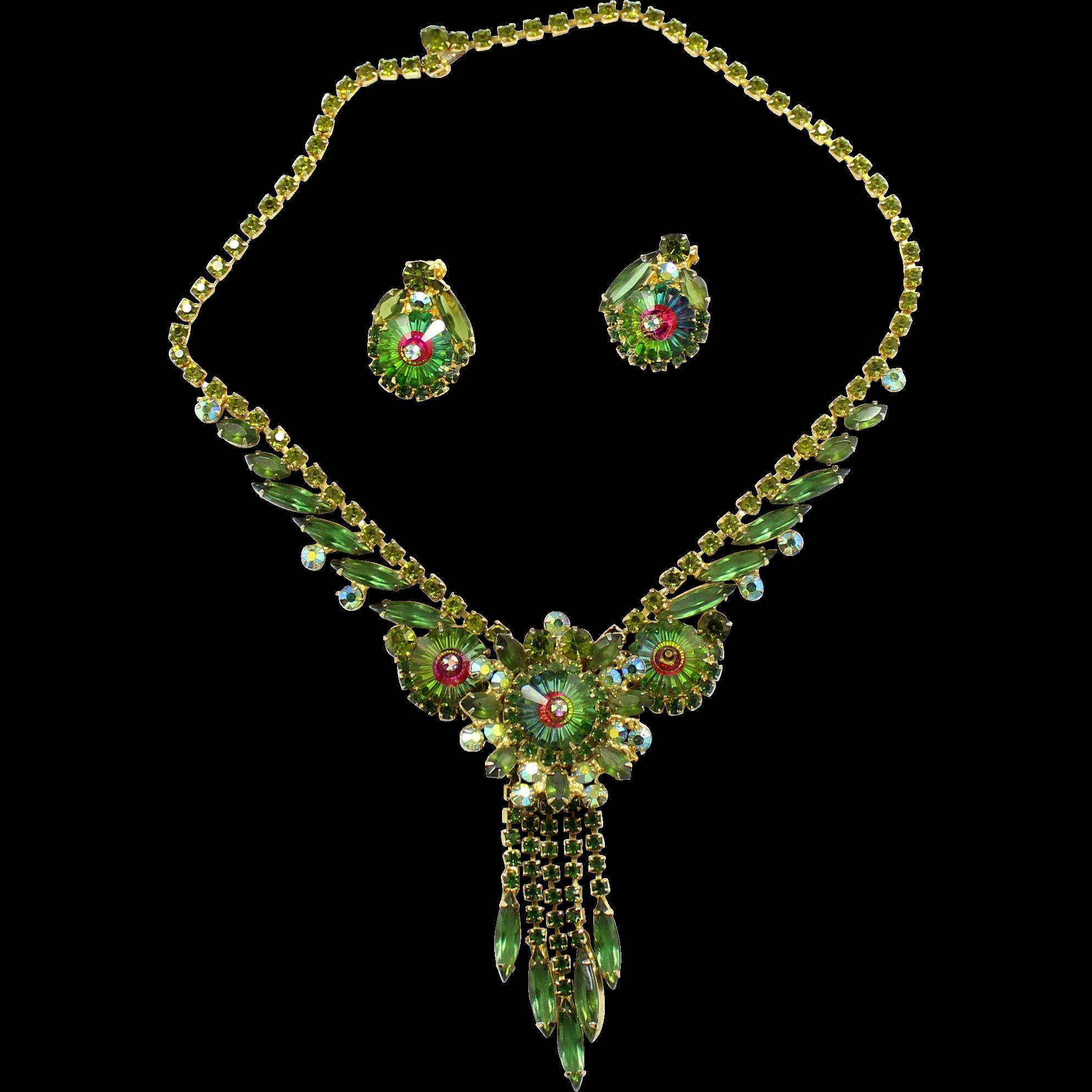 Vintage Juliana Book Piece Olivine Green Rhinestone Watermelon Margarita necklace Earrings Demi Parure