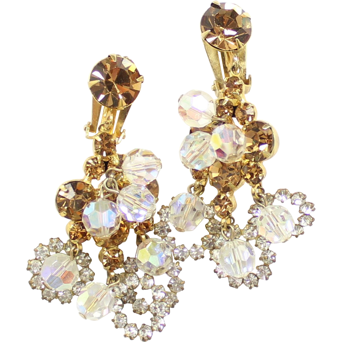 Vintage Juliana AB Clear Crystal Topaz Rhinestone Bead Dangle Earrings
