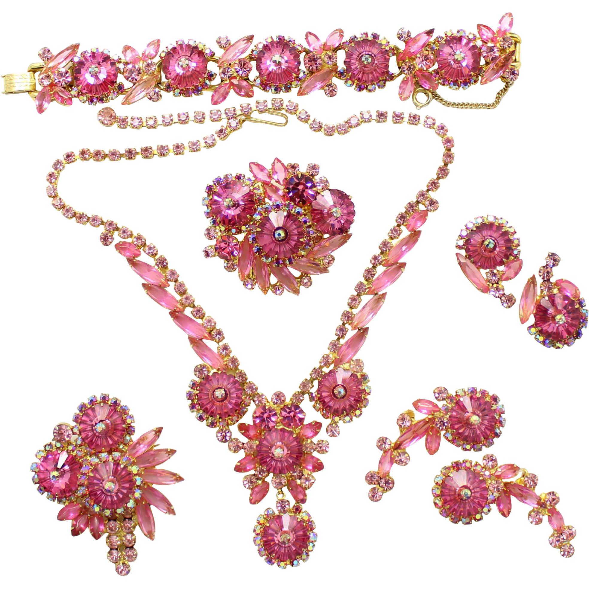 Vintage Juliana (D and E) Book Piece Grand Parure Pink Margarita Rivoli Rhinestone Necklace, Bracelet, 2 Brooches and 2 pair Earrings Grand Parure