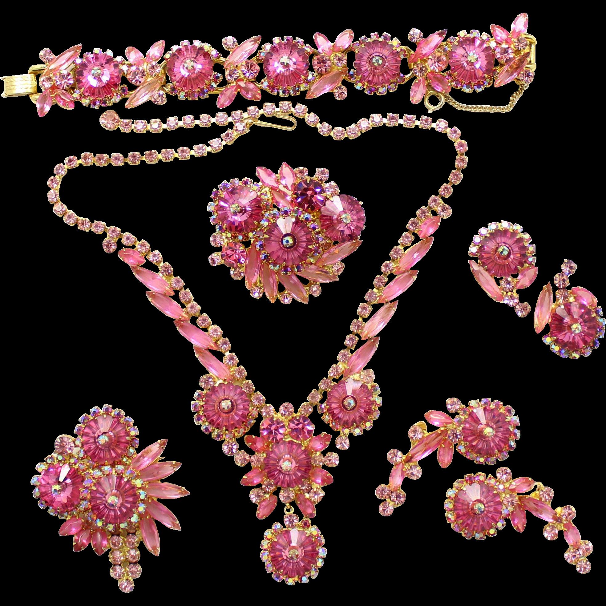 Vintage Juliana Book Piece Pink Margarita Rivoli Rhinestone Necklace, Bracelet, 2 Brooches and 2 pair Earrings Grand Parure
