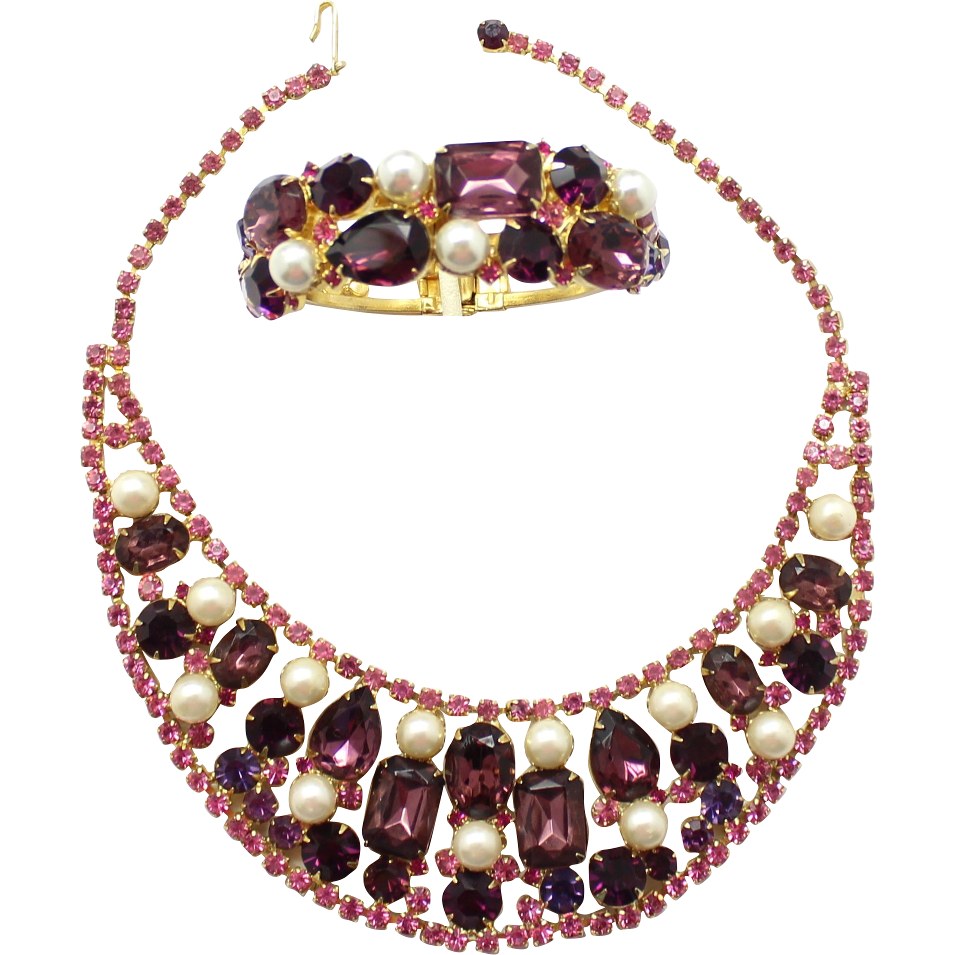 Vintage Juliana (D and E) Amethyst, Purple and Pink Rhinestone and Faux Pearl Bib Necklace and Clamper Bracelet Demi Parure