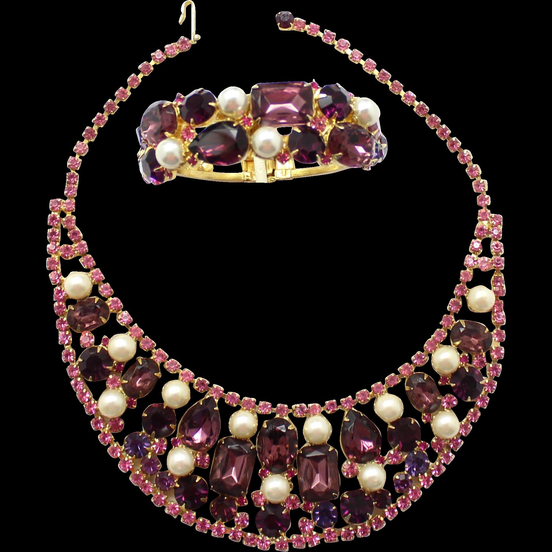 Vintage Juliana (D&E) Amethyst, Purple & Pink Rhinestone & Faux Pearl Demi Parure