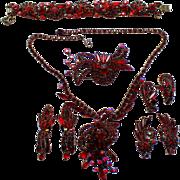 Vintage Juliana (D&E) Book Piece Garnet Red Rhinestone Swirling Grand Parure
