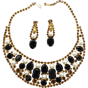 Vintage Juliana (D and E) Black and Topaz Rhinestone and Faux Pearl Bib Necklace and Dangle Earrings Demi Parure