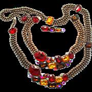 Vintage Juliana (D&E) for Alexis Kirk Antiqued Copper Ball Chain and Red Rhinestone & Volcano Rivoli Parure