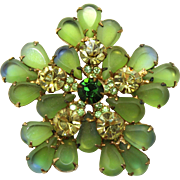 Vintage Juliana (D&E) Book Piece Frosted Green, Blue Edged Pear Rhinestone Brooch