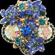 Vintage Juliana (D&E) Blue, Green & Teal Rhinestone Flower Brooch
