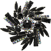 Vintage Juliana (D&E) Black Keystone Rhinestone Brooch