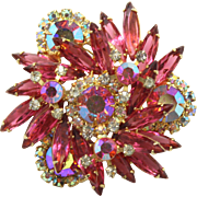 Vintage Juliana (D&E) Pink & AB Rhinestone Brooch