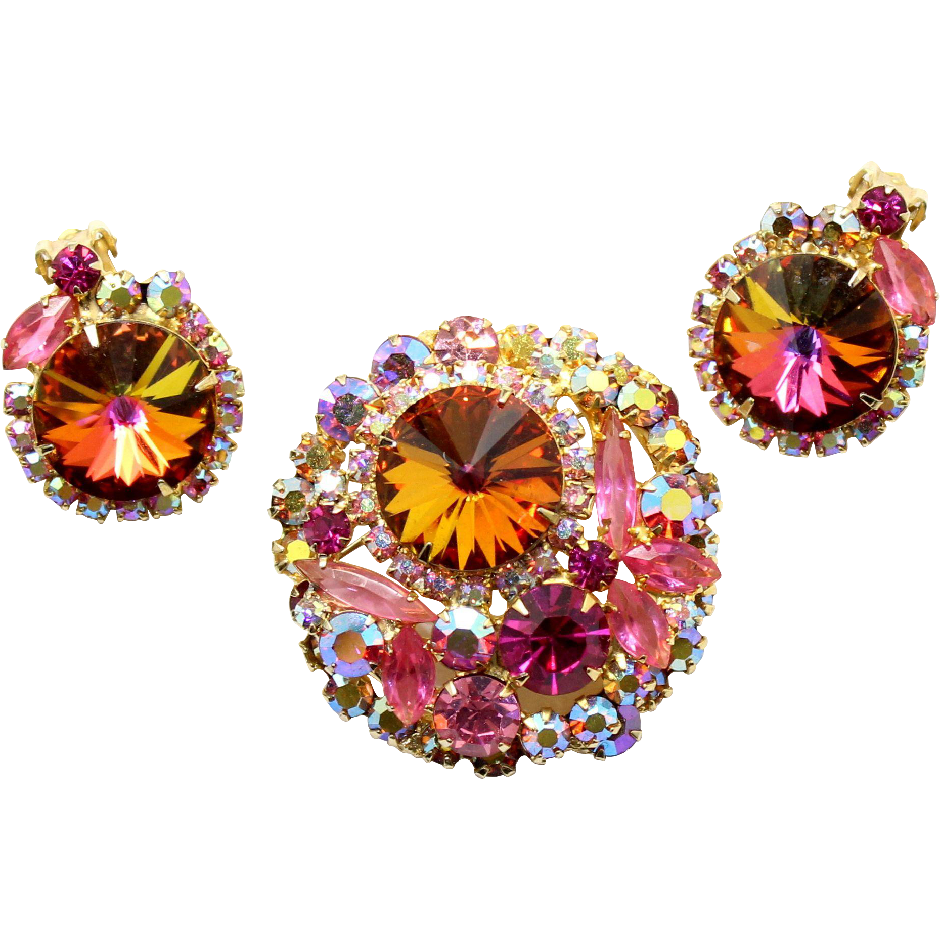Vintage Juliana (D and E) Book Piece Volcano Rivoli, Pink Rhinestone Brooch and Earrings Demi Parure