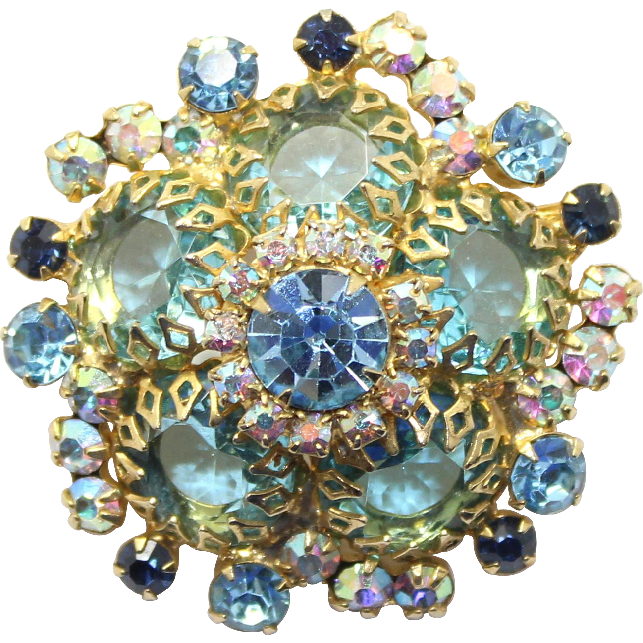 Vintage Juliana (D and E) Aqua Blue Rhinestone, Dogtooth Setting Brooch