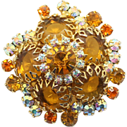 Vintage Juliana (D&E) Topaz & Orange Rhinestone, Dogtooth Setting Brooch - MISSING 2 RHINESTONES