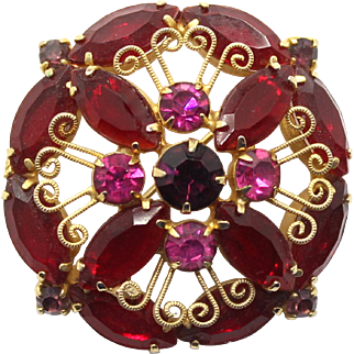 Vintage Juliana (D&E) Red, & Fuchsia Pink Rhinestone Brooch