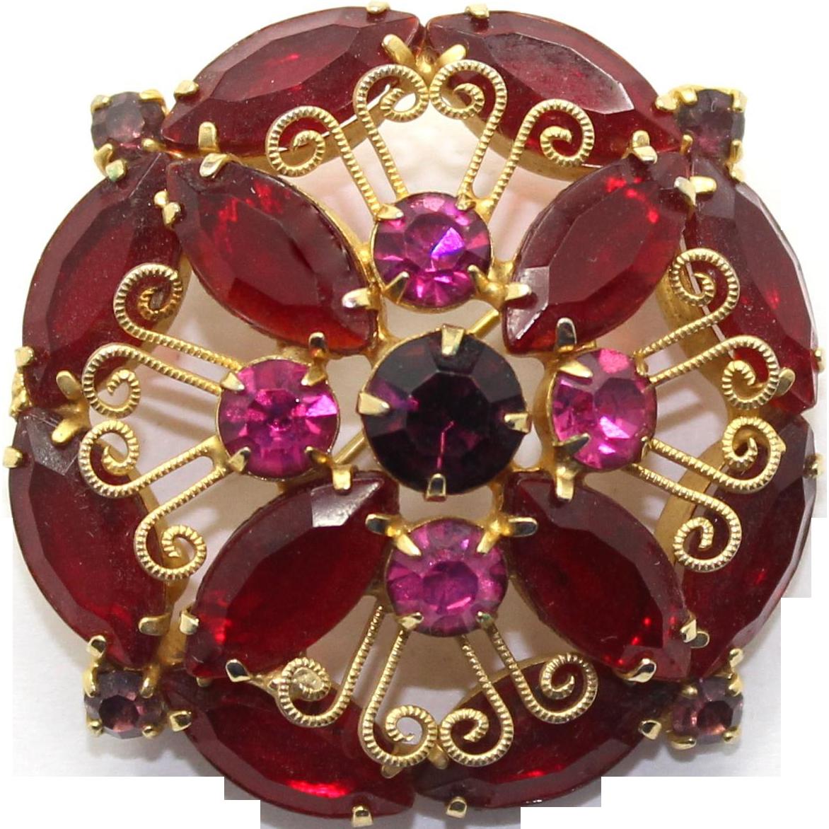 Vintage Juliana Red, Fuchsia Pink Rhinestone S Scroll Brooch