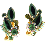 Vintage Juliana (D&E) Two Toned Green Rhinestone Earrings