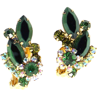 Vintage Juliana (D&E) Two Toned Green Rhinestone Earrings